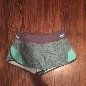 "turquoise and gray ""mission"" workout shorts"
